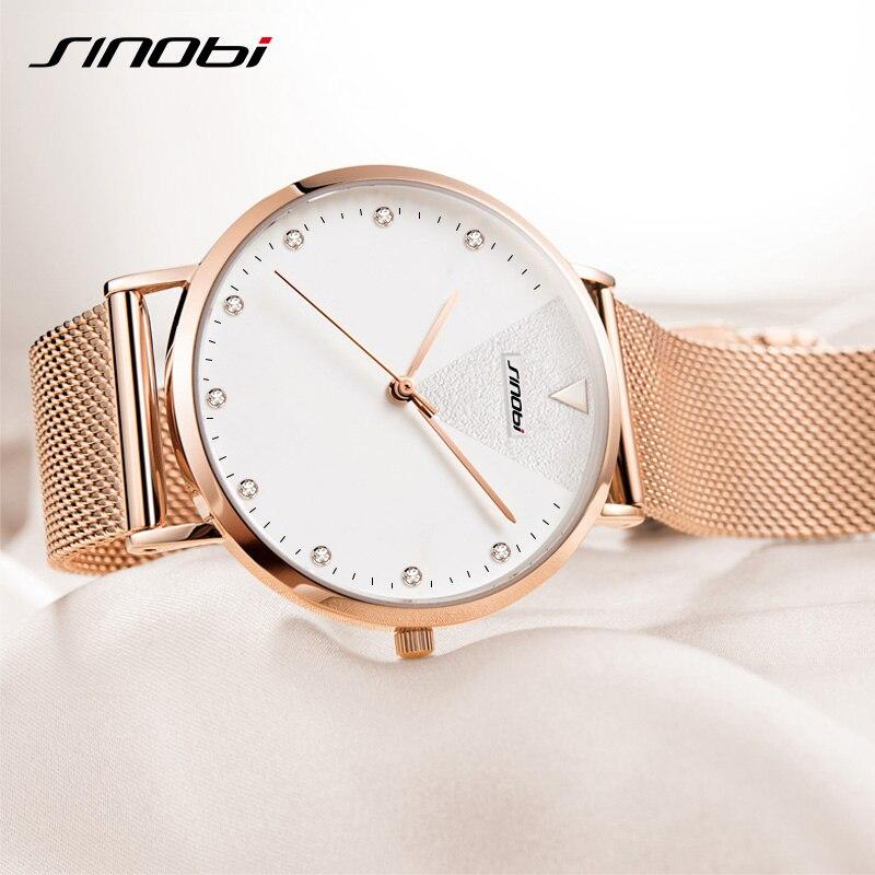 SINOBI 2021 Fashion Golden Women's Diamonds Wrist Watches Top Luxury Ladies Geneva Quartz Clock Female Bracelet Wristwatch reloj enlarge