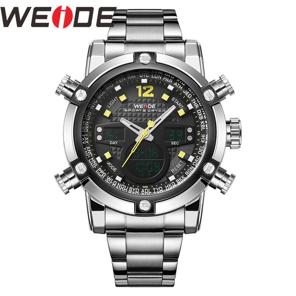 Reloj WEIDE para hombre, reloj Masculino, reloj con alarma de fecha, luz trasera, zona horaria, reloj de cuarzo, reloj Digital, reloj de pulsera, reloj LCD para hombre