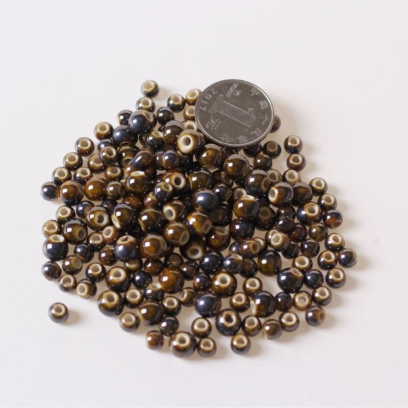 50 Uds. 6mm 8mm 10mm cuentas redondas de cerámica DIY cuentas sueltas de porcelana agujero de cuentas espaciador cuentas para la fabricación de joyas
