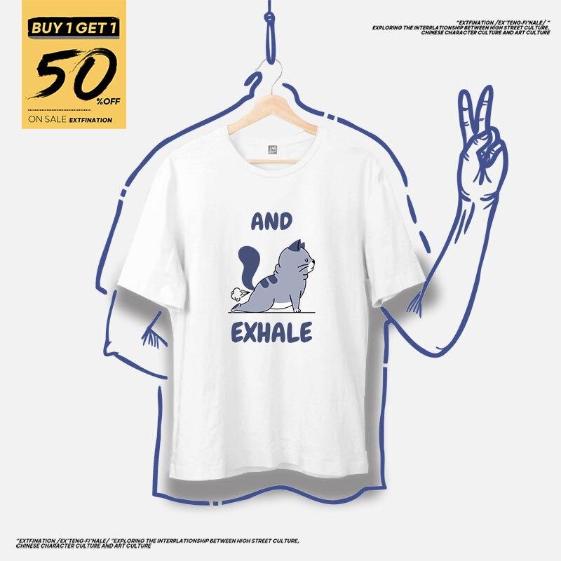 ExtFination   Cute Yoga Print T shirts Basic Man Cat T-shirts Top Tees Women Animal T-shirts 100% Cotton Basic Tees Girl TShirts