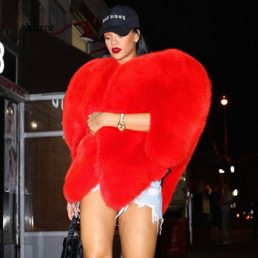 Más 3D rojo amor en forma de corazón capa de piel de zorro gruesa de imitación caliente celebridad mujeres largo peludo abrigo lanudo chaqueta prendas de vestir exteriores invierno Top