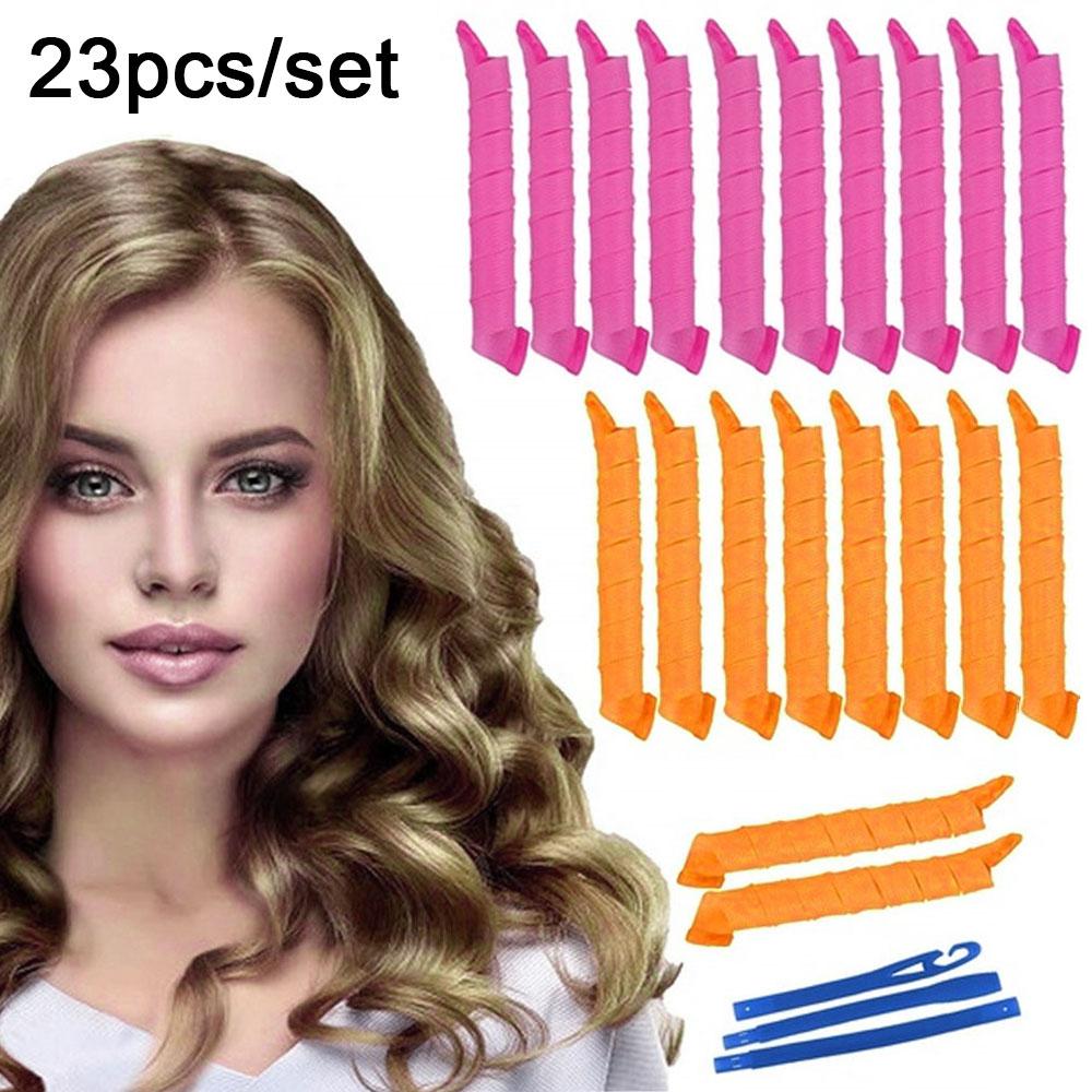 23pcs DIY Magic Spiral Plastic Hand Curler 55CM Hair Rollers Loose Big Waves Hairdress Heatless Hair