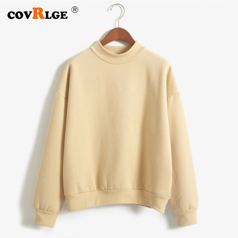 Covrlge Women's Thin Velvet Fashionable Long Sleeve Casual Sweatshirt Solid 10 Candy Colors Kawaii S