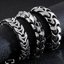 Hip Hop Punk Rocker 14/15/17MM Wide Chain Bracelet Men Stainless Steel Mens Bracelets Biker Massive Jewelry For Men Best Friends