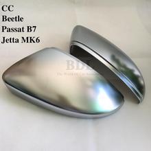 BODENLA Matt Chrom Spiegel Abdeckung Silber Rück Seite Spiegel Kappe Für VW Jetta 5 6 Golf MK5 MK6 MK7 Passat b7 B8 CC Touran Polo