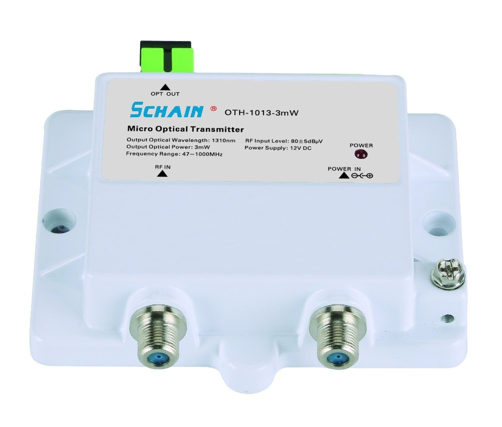 جهاز ناقل بصري صغير صغير 3mw FTTH 12 فولت تيار مستمر 1310nm 1550nm CATV مع SC APC FTTH جهاز ناقل بصري Fibra Optica أداة