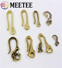 2pcs Meetee Solid Brass Belt U Hook Buckle for Wallet Key Chain Fob Clip Leather Craft Cloth Bag Hanger Shackle Fish Hook AP2392