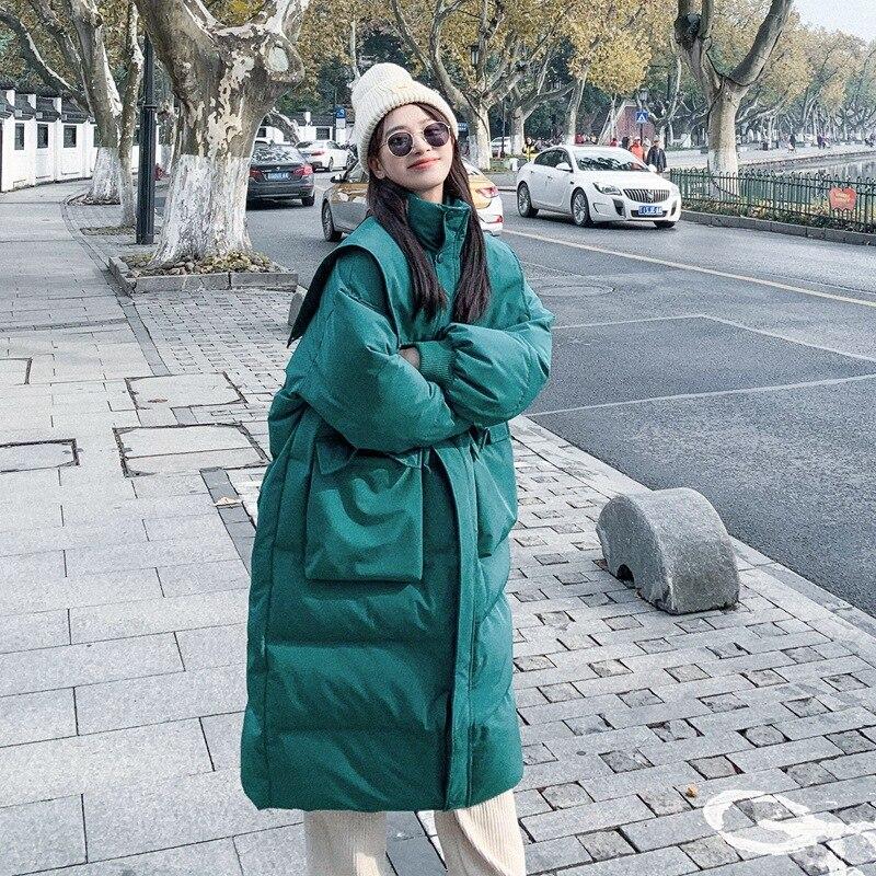 المرأة معطف الشتاء جديد الوقوف طوق الخصر فضفاض عادية الأبيض بطة أسفل طويلة سميكة بلون الكورية سترة أنيقة تحمل شعار لعبة البيسبول الإناث