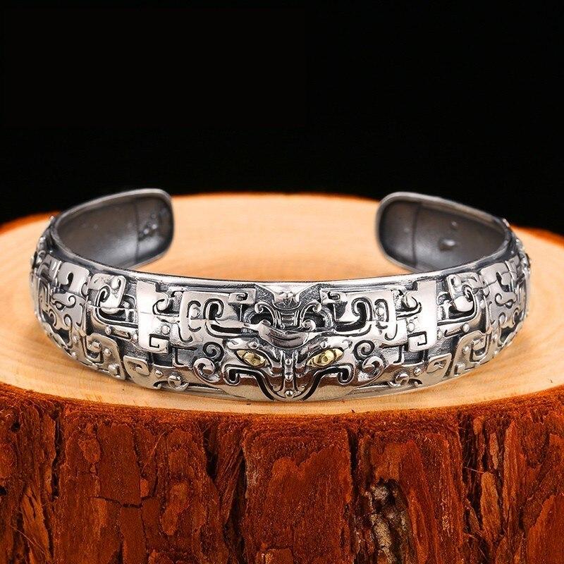 ZABRA Big Heavy Chunky Sterling Silver Bangle Mens Silver Bracelet Chinese Taotie Vintage Thai Silver Viking Bangle Jewelry