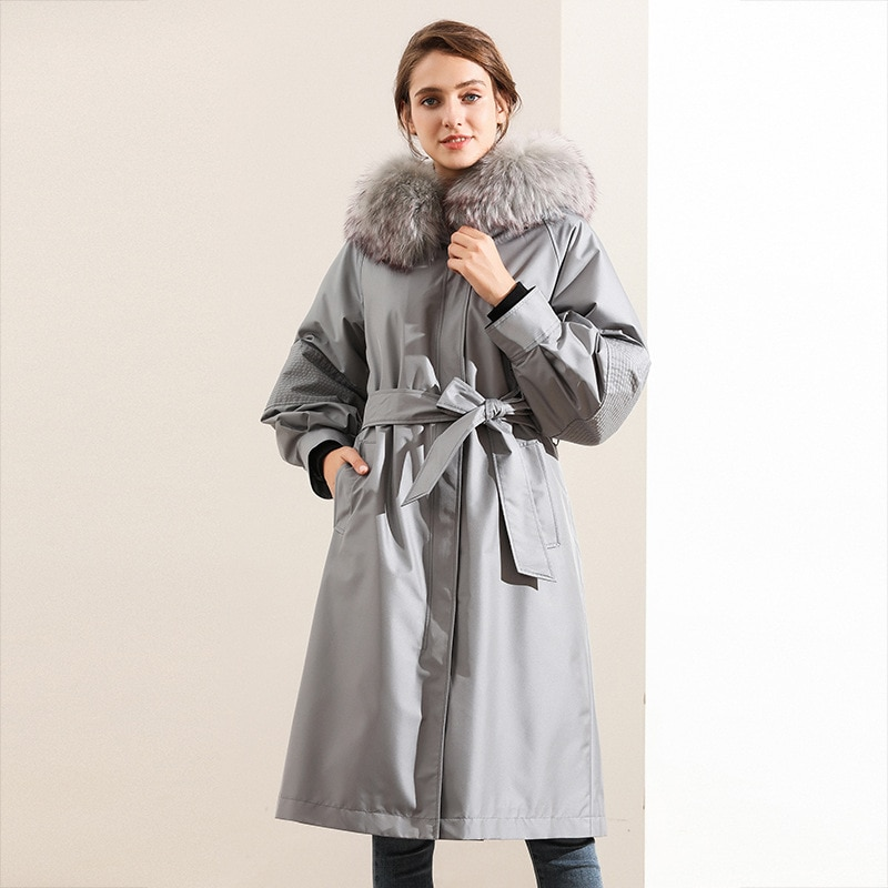 Parkas Para Mujer High Grade Raccoon Dog Hair Collar Rabbit Fur Coats Grey Black Winter Clothes For Women Snow With Bow Belts