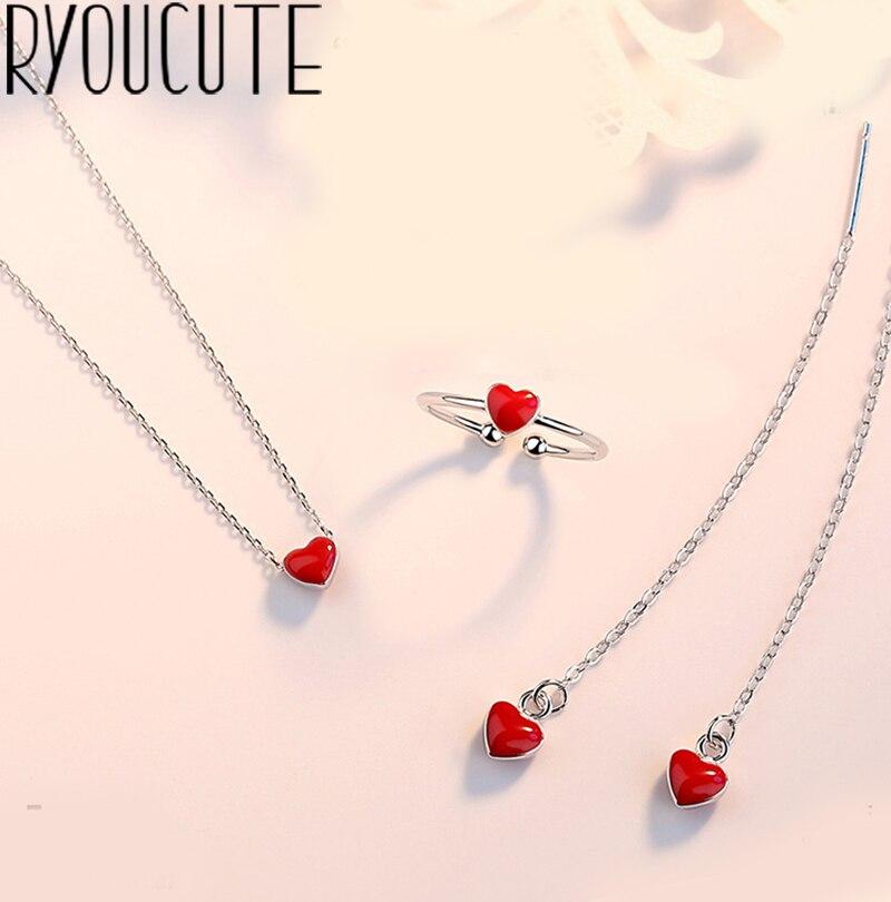 Mode Braut Schmuck Sets Silber Farbe Rot Herz Halsketten Ringe Ohrring Für Frauen Partei Geschenke