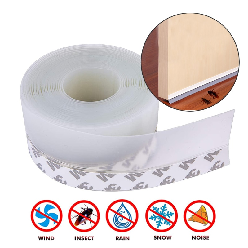 5M Door Bottom Seal Strip Weather Window Rubber Seal Weatherstrip Windproof Dust Self Adhesive Door