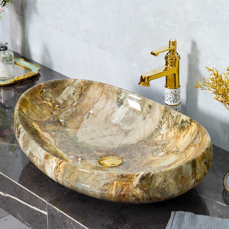 النمط الأوروبي تقليد الرخام فوق مكافحة حوض فندق مغسلة السيراميك الفن حوض غسيل الحمام المنزلية حوض غسيل