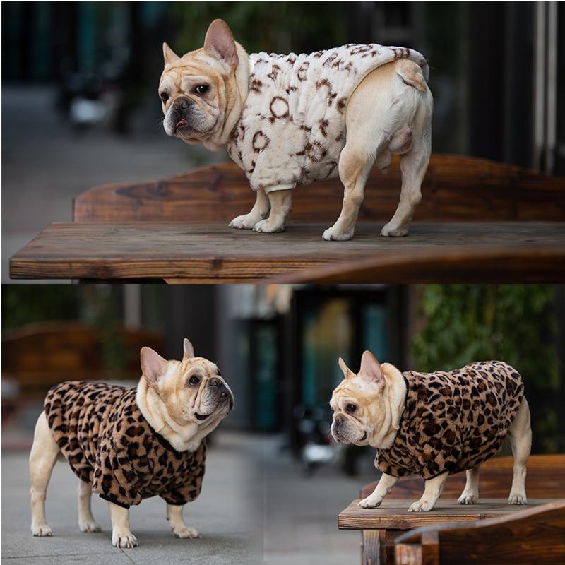 Модная Роскошная Одежда для собак, зимняя одежда для домашних животных с леопардовым принтом, мягкое пальто для французского бульдога, диза...