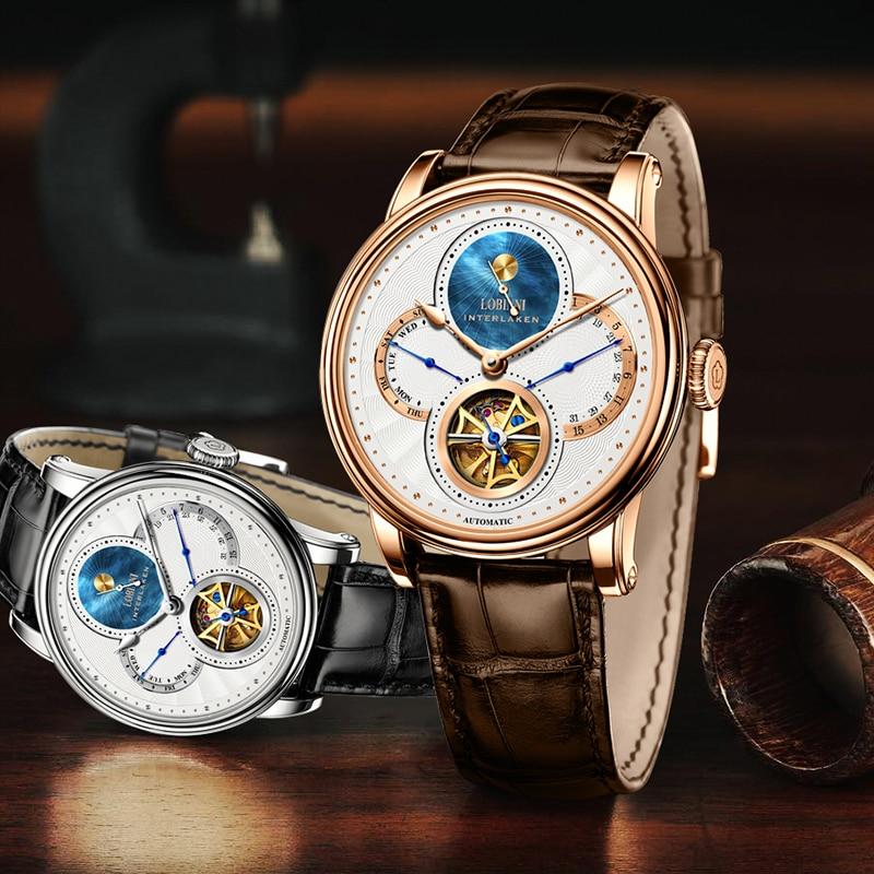 Lobinni-ساعة ميكانيكية للرجال ، تصميم أصلي ، Seagull ، هيكل عظمي ، مقاومة للماء حتى 50 متر ، أوتوماتيكية ، للرجال