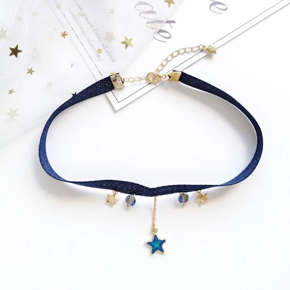 1 pc harajuku doce bonito veludo fita corda gargantilha estrela lua terra pingente simples curto gargantilha colar para meninas