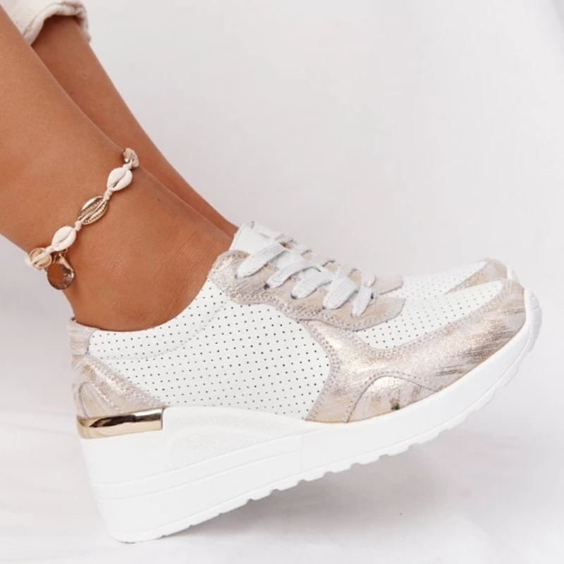 New Design 2021 Women Sneakers Casual Vulcanized Shoes Height Increasing Sport Wedge Shoes Comfortable Lace-up Breathable
