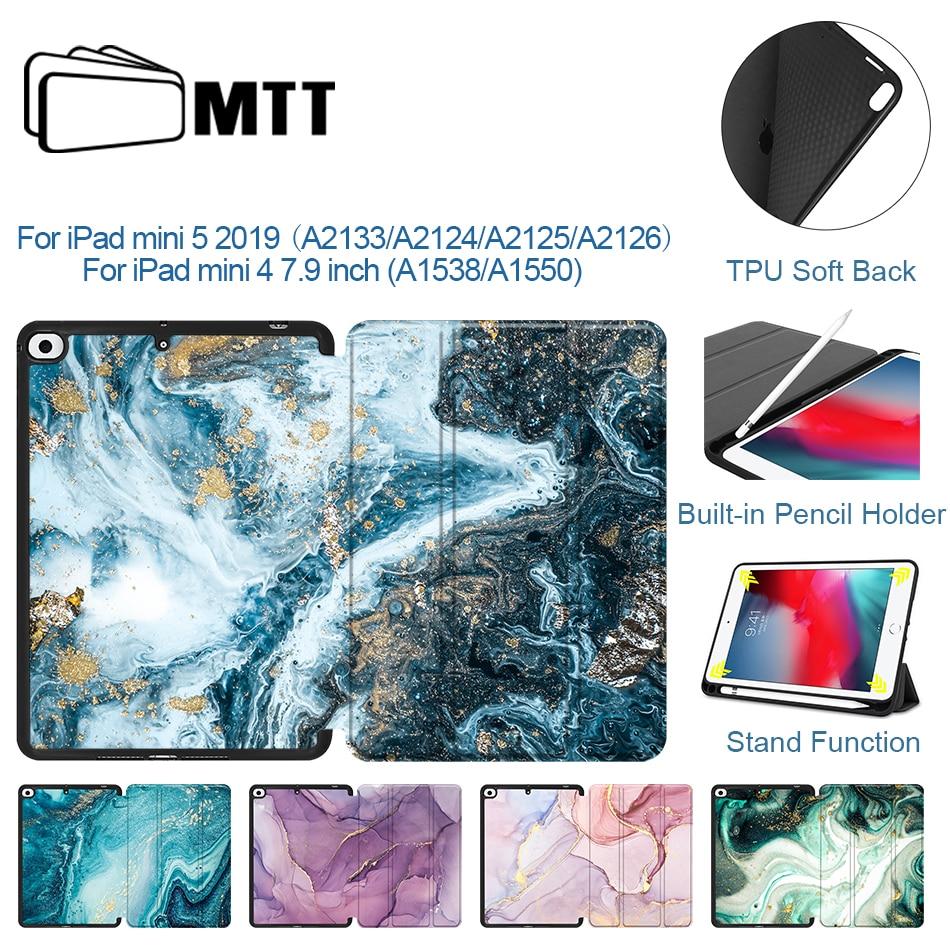 MTT, funda para iPad Mini 4 Mini 5 7,9 2019 con portalápiz de TPU, parte trasera suave de cuero PU, funda con tapa, funda para tableta inteligente de mármol