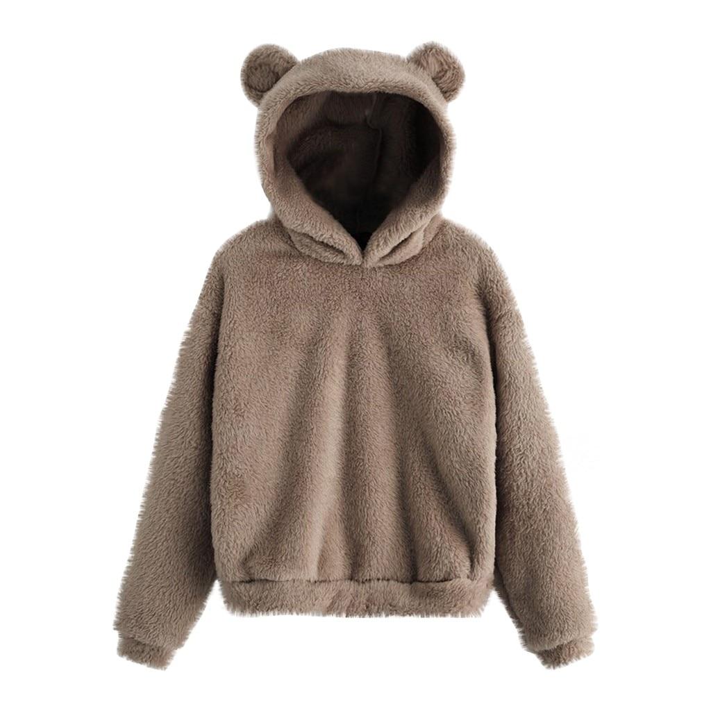 30 # camisola de lã de manga longa feminina quente urso forma fuzzy hoodie pulôver outwear shawn mendes recortado moletom com capuz bts álbum