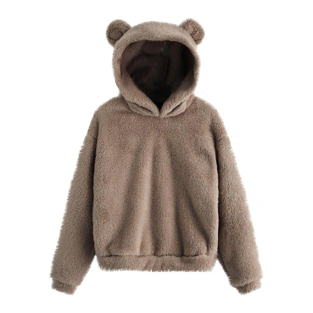30 # sudadera de lana de manga larga de las mujeres caliente oso forma borrosa Sudadera con capucha Pullover prendas de vestir álbum de Bts recortado con capucha