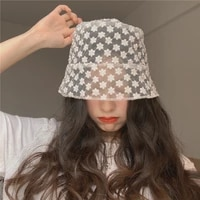 2021summer korean mesh small bud silk sun hat outdoor casual fashion breathable sweet cute fisherman hat bucket hat womens