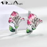 black angel green pink enamel morning glory clip earrings for women 925 silver purple cz flowers fashion ear jewelry wholesale