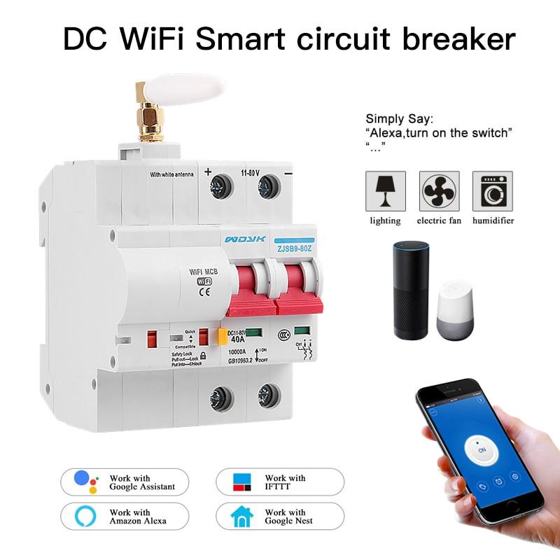 EWelink-قاطع دائرة ذكي ، قاطع دائرة WiFi DC مع حماية من الحمل الزائد للدائرة القصيرة مع Alexa و google home للمنزل الذكي