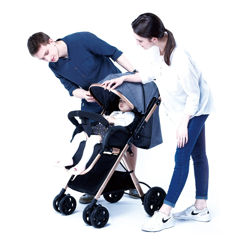 Light Baby Stroller Four Wheels Convertible Push Handle Aluminum Alloy Newbown Baby Carriage Can Sit and Recline Baby Car enlarge
