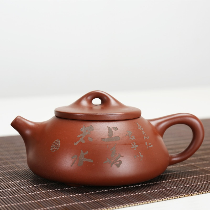 Zisha-أباريق شاي مع مغرفة حجرية ، خام ، رمل أرجواني ، هدايا مصنوعة يدويًا