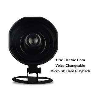 Alarm Horn 10W Audio Output Eletric Horn Voice Changeable Simple Voice Prompter with Micro SD Card Playback Car Truck Alarm