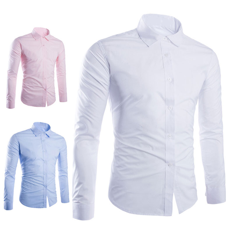 New Spring Autumn Men Shirt Long Sleeve Solid Color Easy-care Anti Crease Man Casual Shirts M-3XL SCI88