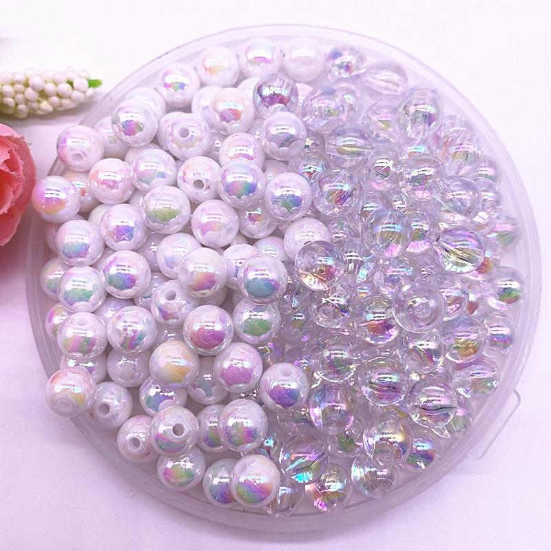 4-14mm Farbe AB Charme Runde Acryl Perlen Lose Spacer Perlen für Schmuck Makeing DIY Handgemachte Armband Zubehör