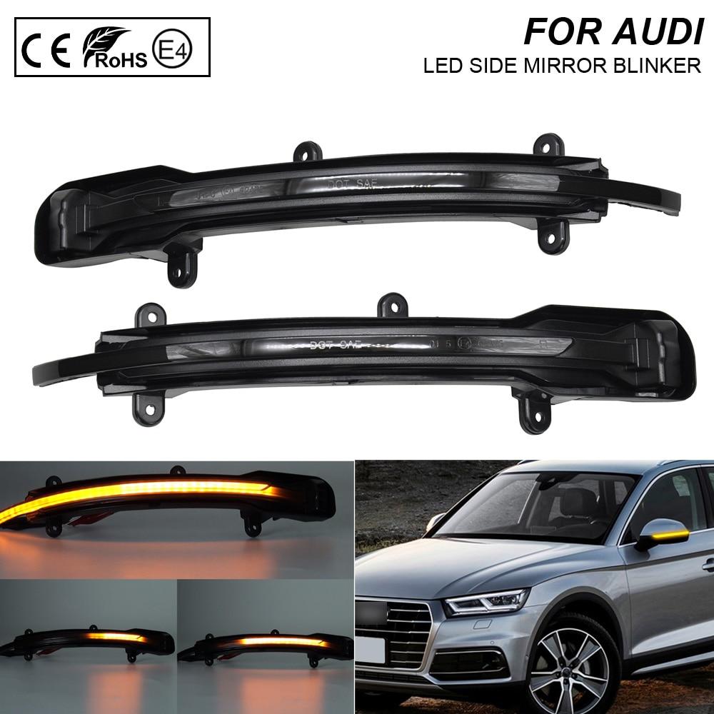 2X Smoke flash LED Dynamic Mirror Blinker Light Turn Signal Lamp For Audi Q5 Facelift 2012-2017 Q7 Facelift 2010-2015