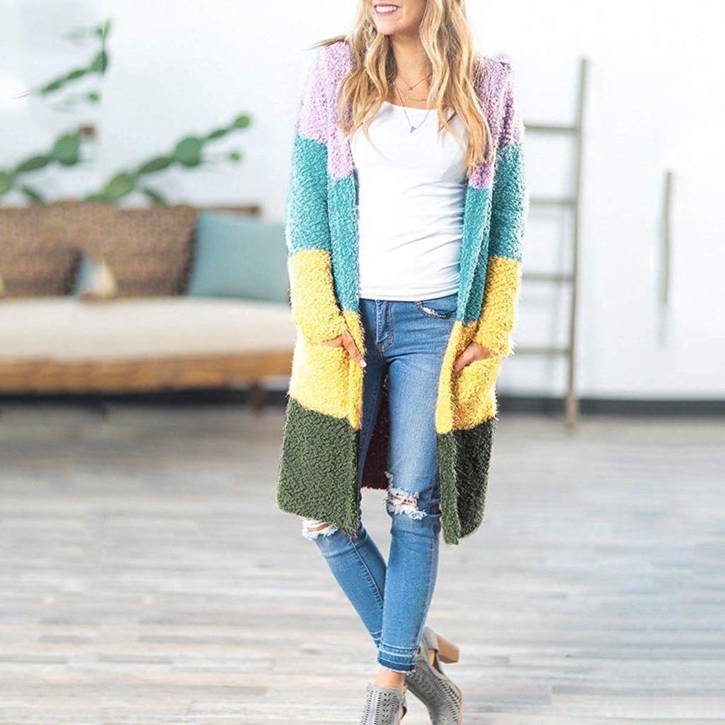Moda mujer suéter Casual de manga larga abierta frontal suave grueso de punto de bolsillo Cardigan prendas de vestir exteriores mujeres blusa Tops