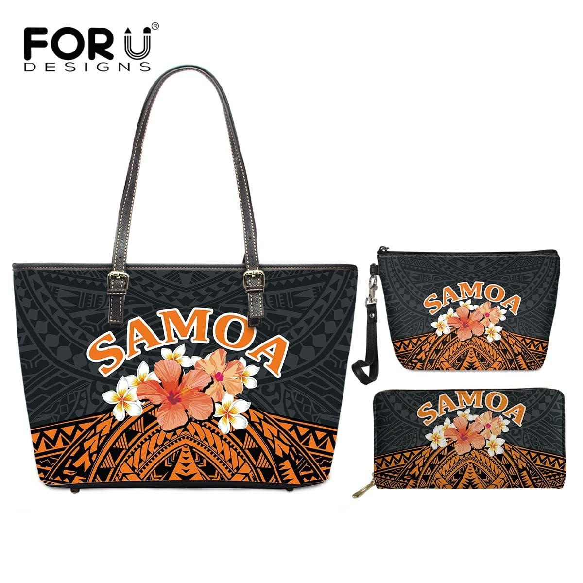 FORUDESIGNS Polynesia Samoa Plumeria Print Leather PU Tote Bag and Wallet Set Small Cosmatic Bag Fashion Woman Handbags 3Pcs