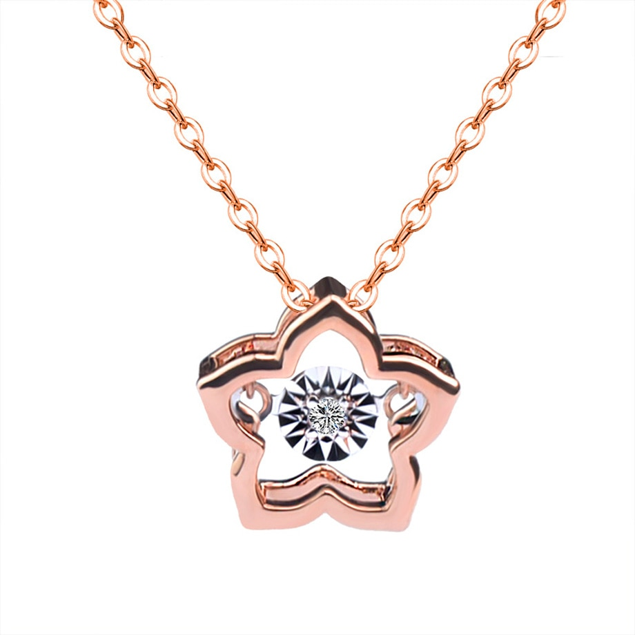 ZHIXI ريال 18K الذهب قلادة الماس قلادة نقية AU750 سلسلة الخماسية دلاية شكل نجمة للنساء غرامة مجوهرات الزفاف هدية D578