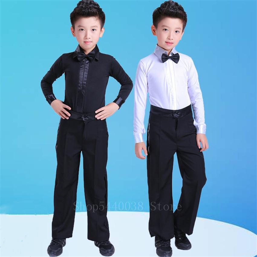 Boys Latin Dance Costume Ballroom Cha Cha Rumba Salsa Tango Stage Performance Clothing Set Children Black White Bow Dancewear