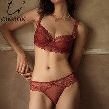 Cinoon conjunto de sutiã push up plus size, conjunto de calcinha e lingerie bordada, roupa íntima ultrafina, novo, sensual sutiã de renda,