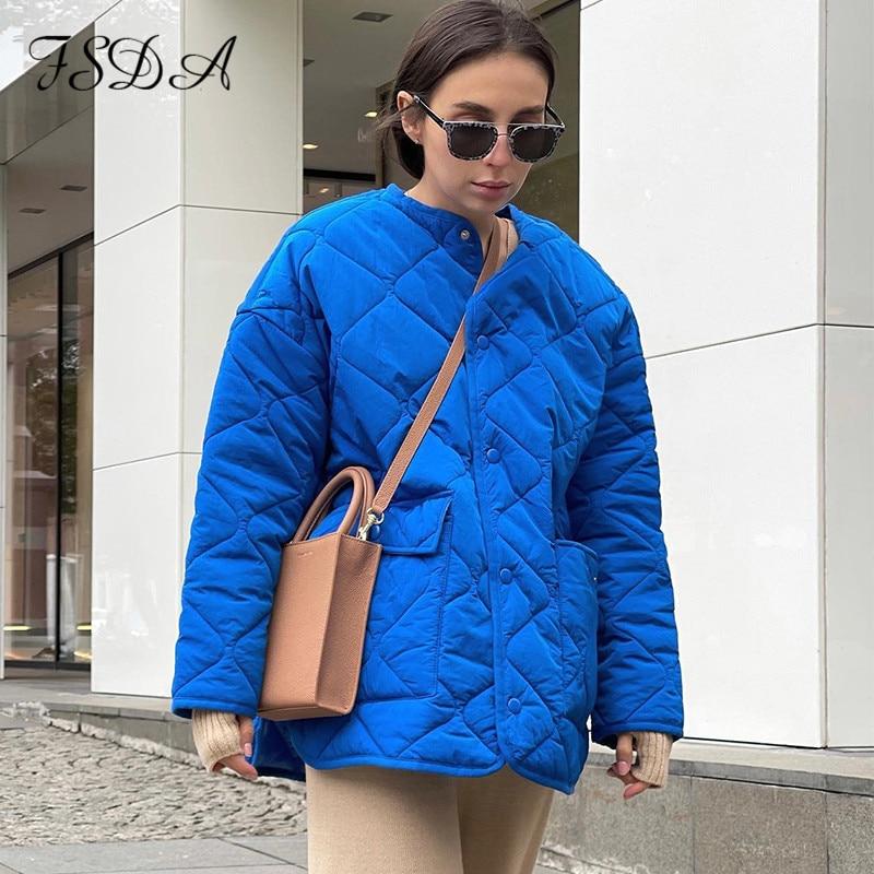 FSDA سترات نسائية مبطنة دافئة للشتاء والخريف سترات نسائية مبطنة كبيرة الحجم باللون الأزرق بأكمام طويلة معاطف قطنية أنيقة فضفاضة خارجية