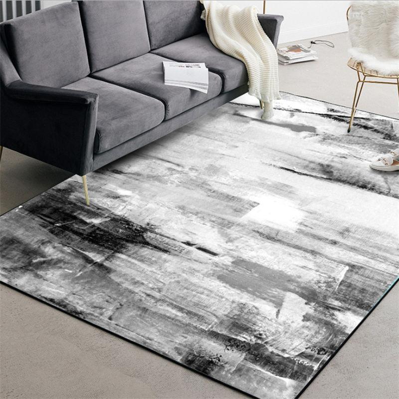 Alfombras para sala de estar estilo chino abstracto negro y blanco patrón de tinta alfombra sala de estar accesorios de mesa alfombra de Navidad
