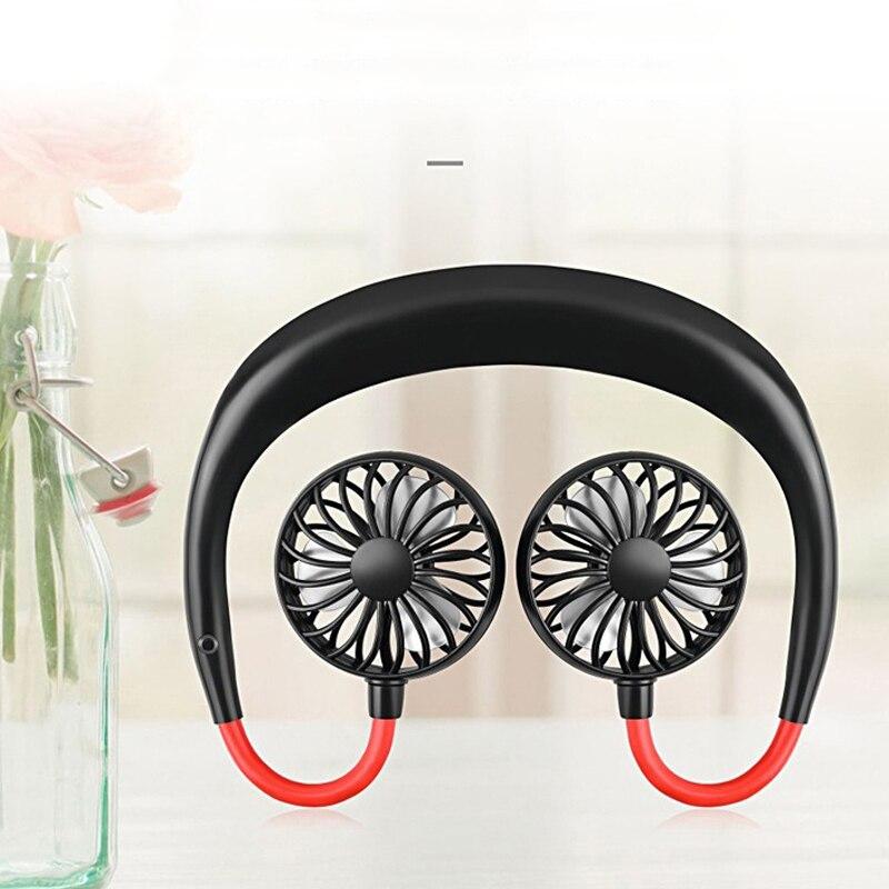 Usb ventilador portátil mão-livre pescoço ventilador pendurado recarregável mini esportes ventiladores 3 engrenagens condicionador de ar ajustável casa 2000 mare