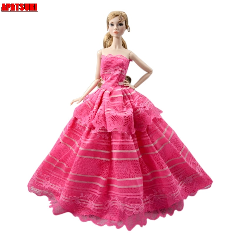 Hot Pink Wedding Dress For Barbie Doll Outfits Princess Party Gown Fashion Doll Clothes For 1/6 BJD Dolls Accessories Toys