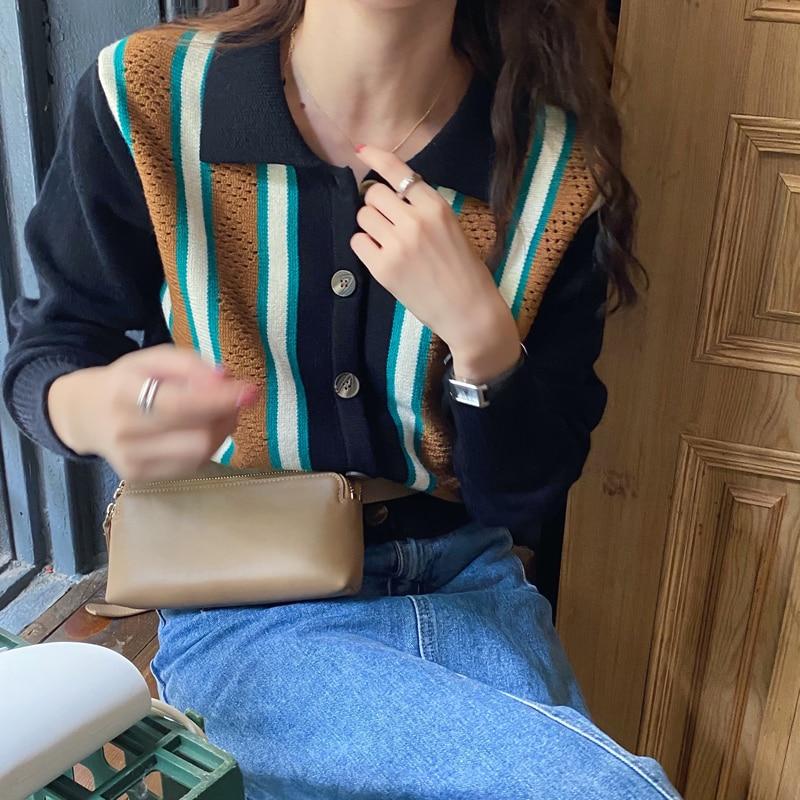 Spring 2021 Korean Style Ins Retro Color Stitching Turnover Neck Sweater Coat Women's Fashionable Ne