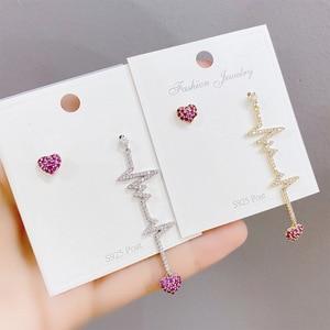 Heartbeat Asymmetry Rhinestone Drop Earrings Fashion Temperament Joker Party Earrings For Women Girls Fashion Jewelry Gifts