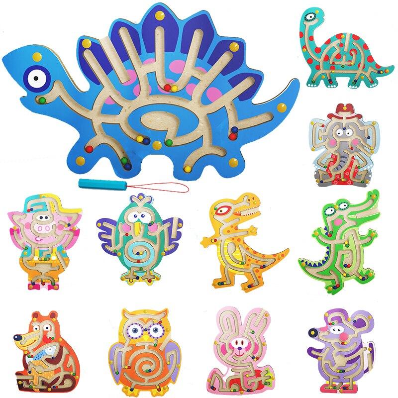 Тизеры из дерева для головного мозга животных лабиринт игрушка Дети Магнитный лабиринт, игрушка деревянная головоломка для детей игра игру...