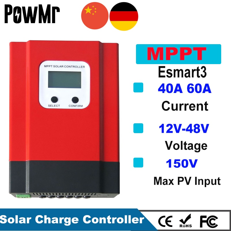 PowMr Esmart3 60A 40A MPPT جهاز تحكم يعمل بالطاقة الشمسية 48 فولت/36 فولت/24 فولت/12 فولت السيارات الخلفي ضوء LCD ماكس 150VDC المدخلات توفير الطاقة RS485 ميناء