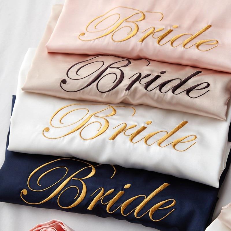 Wedding Bride Bridesmaid Robe Dressing Gown Sexy Women Bathrobe Nightgown Short Sleepwear Casual Flo
