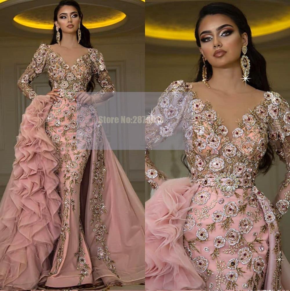 Africano rosa de luxo com decote em v sereia vestido de noite saia removível até o chão applique frisado lantejoulas vestido de baile 2020 dubai