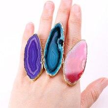 1 pièces pierre naturelle Agates colorées placage or Agates tranches anneaux exagération Index bagues Halloween cadeau