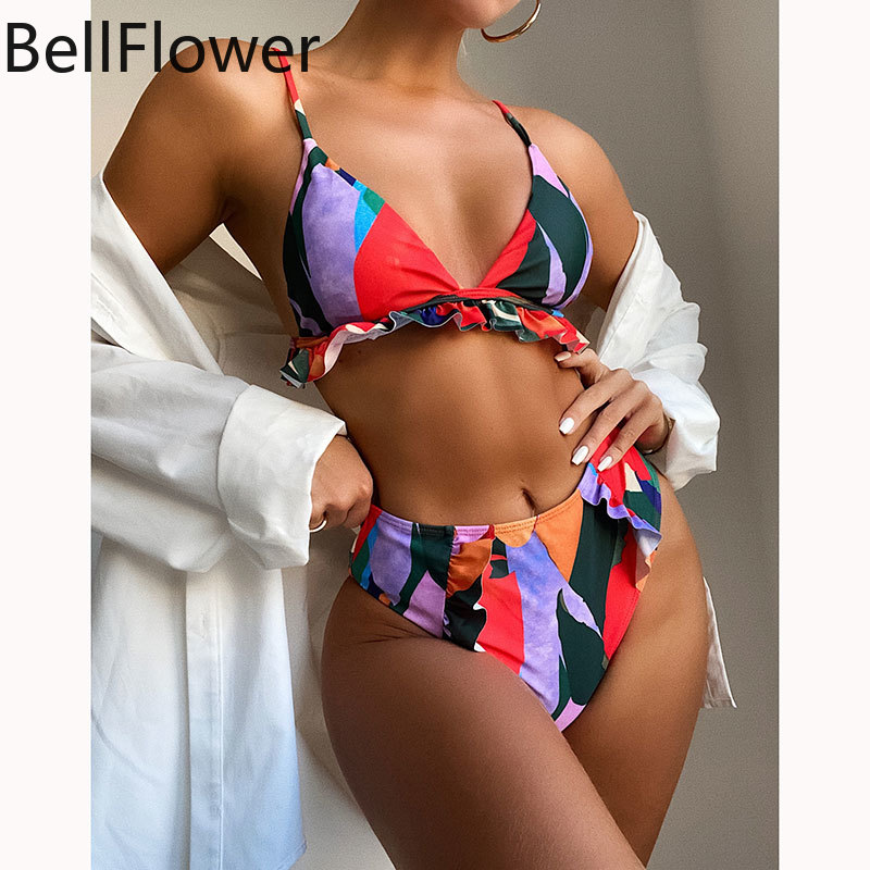 High Waist Bikini Sexy Micro New 2021 V Neck Ruffle Wire Free Color Matching Sling Fashion Two Piece Outfits for Women Wholesale